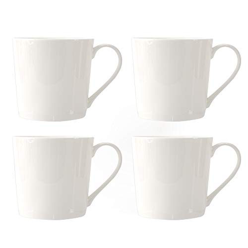 ProCook Bone China Mugs - White - Set of 4-485ml - Large Cups with Simple Modern Style for Serving Tea, Coffee, Hot Chocolate and More