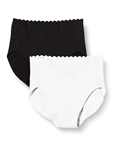 Dim Culotte Haute Body Touch Coton X2 Ropa Interior, Negro/Blanco, Medium para...