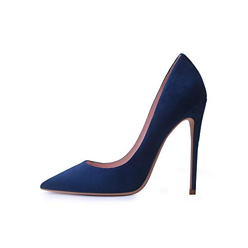 Elisabet Tang High Heels, Women Pumps Pointed Toe Stilettos 4.7 inch/12cm Sexy Heels Party Shoes NB 9 Navy Blue