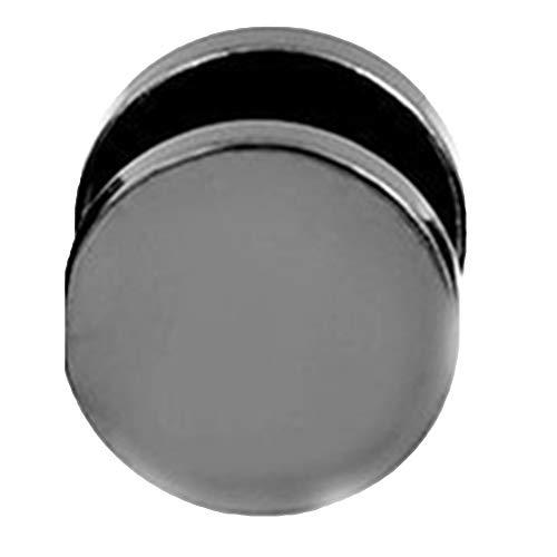 SpirWoRchlan Pendientes de acero inoxidable para hombre, estilo punk redondo negro de acero inoxidable 3 mm - 14 mm, negro 5 mm