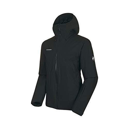 Mammut Herren Casanna Hooded gefütterte Hardshell-Jacke mit Kapuze, Black, XL