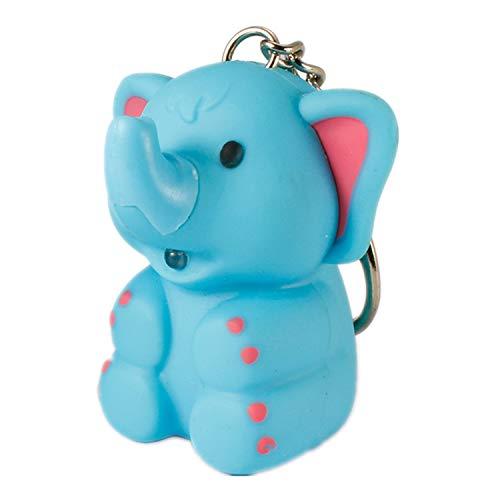 ODETOJOY 1PC ABS Elephant Keychain Flashlight with Sound Voice Children LED Keyrings Blue Or Gray 3D Cartoon Animal Key Holder Rings (Random Color)