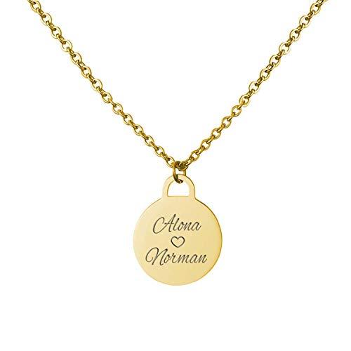 URBANHELDEN - Kette mit Wunschgravur - Damen-Kette Namenskette - Amulett mit zwei Namen graviert - Personalisierte Münz-Kette Coin 1 - Gold