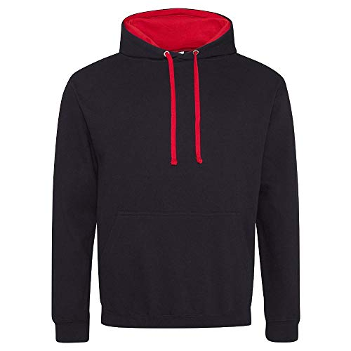 Just Hoods Varsity Kapuzenpullover XXXXL Jet Black/Fire Red