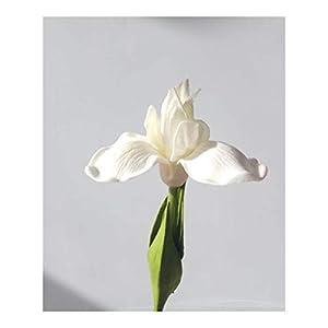 Silk Flower Arrangements Fresh PU Feel Simulation Orchid Iris Artificial Flower Home Wedding Living Room Decoration Fake Flowers Color (Color : White)