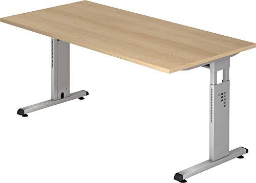 bümö® Stabiler Schreibtisch höhenverstellbar 160 x 80 cm | Bürotisch in Eiche | Büroschreibtisch mit Höheneinstellung | Tisch für Büro in 9 Größen & 7 Dekoren
