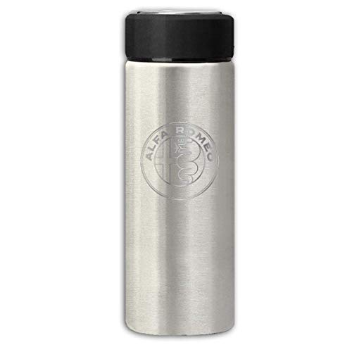 WORKhard9 Vacuum Insulated Stainless Steel Thermal Bottle Alfa Romeo - Metallic Grey Logo Frosted Fashion Travel Tumbler for Hot/Cold Drink Coffee Or Tea
