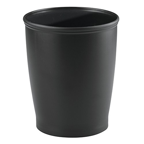 iDesign Kent Plastic Wastebasket, Small Round Plastic Trash Can for Bathroom, Bedroom, Dorm, College, Office, 8.25' x 10', Black