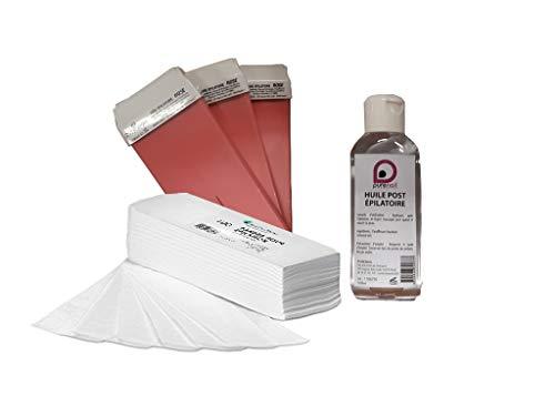 Recharges Epilation avec 3 cartouches de cire à épiler 7 couleurs + 100 bandes d'épilation +1 Huile Post Épilatoire 100 ml BY PURENAIL (ROSE)