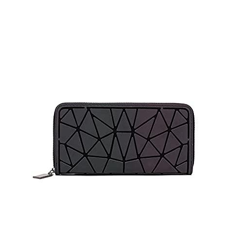 QIANJINGCQ moda todo-fósforo adulto monedero diseño luminoso rombo bolso patrón geométrico cartera pu gran capacidad embrague portátil