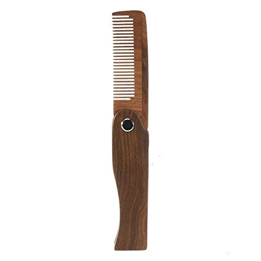 おしゃれじゃないバーガー微視的Feeko Folding Wooden Comb, 1 PC Pocket Size Hair Beard Fold Wooden Comb Durable Anti-Static Sandalwood Comb Every Day Grooming [並行輸入品]