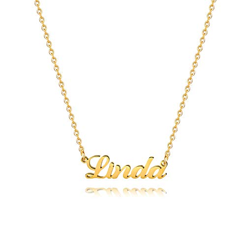 M MOOHAM Gold Custom Name Necklace Personalized - 18K Gold Plated Personalized Name Necklaces for Women Girls Kids Teens, Plate Monogram Necklace Name Necklace