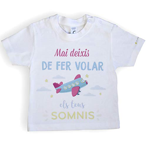 Ropa Bebé. Camiseta bebé català. Ropa divertida para bebé. Unisex. (12-18 Meses)