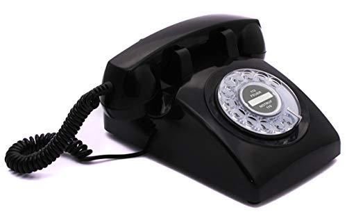 Opis 60s Cable: Klassisches Telefon der 60er und 70er mit schwarzem Deutsche Post Pappeinleger/Retro Telefon im sechziger Jahre Vintage Design mit Wählscheibe und Metallklingel (schwarz)