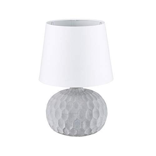 Relaxdays, weiß Tischleuchte Betonoptik, Tischlampe mit Sockel aus Zement, trendiger Materialmix, HBT 36 x 23 x 23 cm
