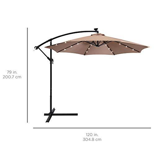 Best Choice Products 10ft Solar LED Offset Patio Umbrella w/Easy Tilt Adjustment - Tan