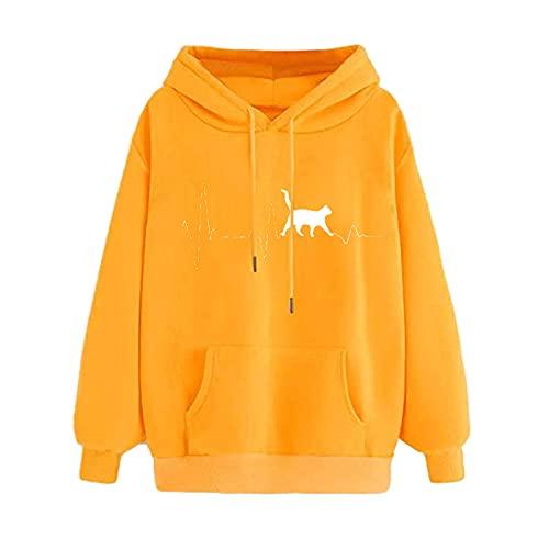 Wave166 Sudadera con capucha para mujer con estampado de gatito impreso con cordón, de color liso, con bolsillos, informal, holgada, básica, clásica chaqueta de otoño, amarillo, L