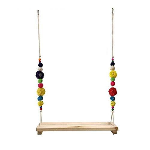 Precauti Columpio de pollos de juguete colorido hecho a mano de madera perca campanas de entrenamiento para mascotas
