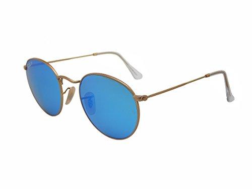 Ray Ban Round Metal RB3447 112/4L - Gafas de sol polarizadas con espejo dorado/azul de 50 mm