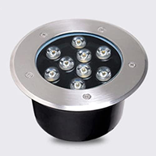 HETX7 Lámpara de inundación subterránea 9W Luces LED para exteriores de jardín y paisajes IP67 Impermeable Exterior Aplique de luz enterrado para exteriores Iluminación empotrada en el suelo redonda p