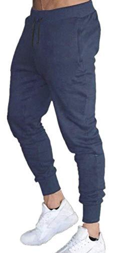Calça Moletom Masculina Jogger Slim Fit Básica Novastreet Cor:Azul Marinho;Tamanho:M
