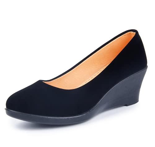 TYPING Sandalias Mujer Chino Tradicional Tacones Altos 5Cm Nueva Pendiente con Moda Casual Retro Herramientas Etiqueta Zapatos, Negro, EU40