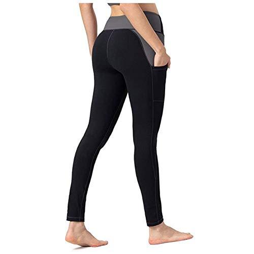 BOIYI Mallas de Deporte de Mujer, Malla Leggins Pantalones Deporte Yoga with Pockets, Leggings Mujer Fitness Suaves Elásticos Cintura Alta para Reducir Vientre(Negro,S)