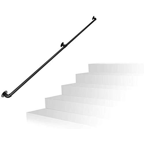 Trapleuning met complete set voor binnen en buiten, strijkijzer, waterpijp, designtrappen, trappen, leuningen, railondersteuning, zwart