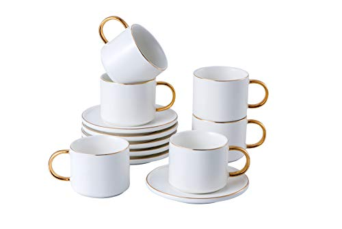 Set of 6 (8.5 oz) Cups and Saucers with gold trim and gift box, Tea Cup Set, Esspresso/cofffee Cup, White Cups, Cappuccino Cups, British Tea Cups/Set, Porcelain Tea Cups, Latte Cups, Espresso Mug
