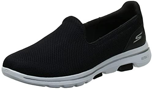 Skechers Damen Go Walk 5 Slip On Sneaker, Schwarz (Black Textile/White Trim Bkw), 39 EU (6 UK)