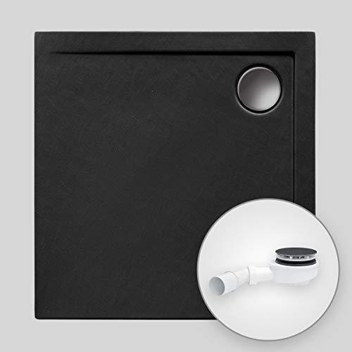 Duschwanne AQUABAD® Comfort Neo BlackStone quadratisch 100 x 100 cm, Steinoptik schwarz, Extraflache Acryl-Duschtasse, Aufbau-Höhe: 4,5 cm, Ablaufgarnitur Trapflex extraflach
