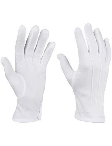 Weiße Handschuhe in Einheitsgröße mit Druckknopf und Biesen als Ergänzung zum Kostüm