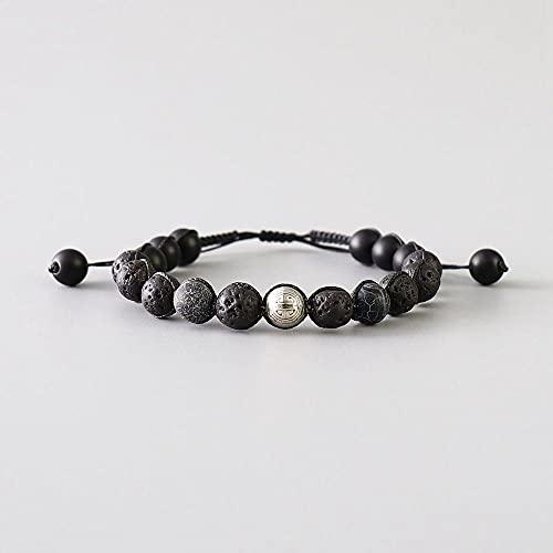 Lava Rock Black Onyx Hombres Pulsera con Cuentas Peluncia De Piedra Natural Pulsera De Longevidad Tibetana para Hombres Joyería