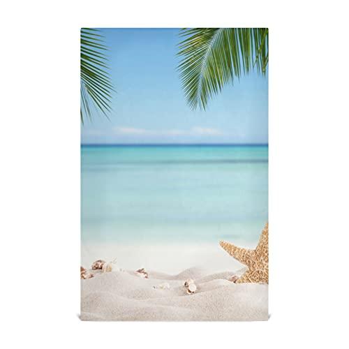 Juego de toallas de cocina, 18 x 28 pulgadas para cocinar y secar paños de cocina, verano Sandy Beach Blur Ocean On Hand Towels Toallas de té para la limpieza de la casa Uso multiusos en múltiples es