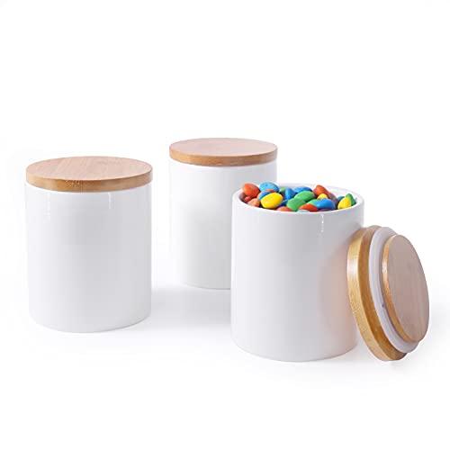 Newness Keramik Vorratsdosen mit Bambusdeckel, (3er-Set) Luftdichtes Weißes Keramik Vorratsbehälter zum Servieren von Gewürzen, Gemahlenem Kaffee, Zucker und Mehr, 300 ML (10.13 FL OZ)