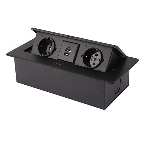 Kitechildhrrd Versenkbare Einbausteckdose mit USB Backflip Steckdose Tischsteckdose versenkbar Steckdosenleiste 2-fach 2 USB (Schwarz)