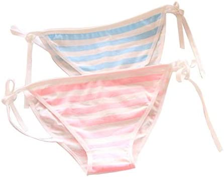 YangYong Hot Pink Side Tie Striped Thong Panties Strawberry Lingerie Underwear product image