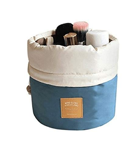 Naisider Bolso cosmético del Bolso del almacenaje de la viga del Cilindro Azul