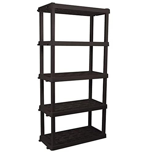 Oskar Schwerlastregal mit 5 Ebenen, zusammensteckbar, schwarz, hält bis zu 340 kg, hergestellt in Nordamerika, Mehrzweck-Organizer für Garage, Keller, Geräteschuppen, Werkstatt, Zuhause