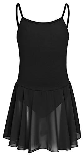 tanzmuster ® Ballettkleid Mädchen ärmellos - Maggie - aus weicher Baumwolle mit Chiffon Röckchen Ballettbody fürs Kinder Ballett in schwarz, Größe:140/146