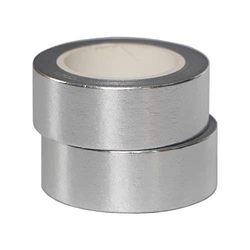 2 Rollos 10mx15mm Washi Tape Set Glitter Pintura metálica Cinta adhesiva Cinta decorativa DIY Scrapbook Crafting (Plata)