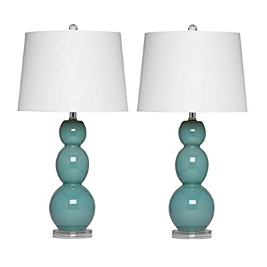Virtue Home Bellacina Modern Teal Glass Table Lamp, Set of 2, 27  x 14  x 14 , 601-26TE