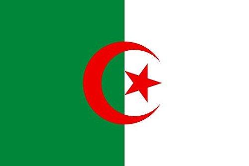 Très grand drapeau d'Algérie avec œillets en métal, 100 % polyester, double couture, 250 x 150 cm environ