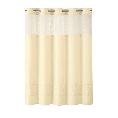 HOOKLESS Fabric 3-in-1 Duschvorhang-Set mit PEVA It's a Snap Auskleidung & Fenster zum Einrasten, Polyester-Mischgewebe, vanille, 71 X 74in