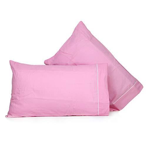 Liabel_ Par de fundas de almohada de algodón liso 50 x 80 cm – Rosa VAR 2