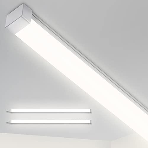 2er LED Feuchtraumleuchte 150cm, 44W 5550LM LED Deckenlampe, LEOEU IP65 Garage Lampe Bürodeckenleuchte für Garten Shop Keller Büro Werkstatt Lager, Neutralweiß 4000K