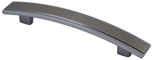 Gedotec Design Möbelgriff Edelstahl matt - Chrom Bogengriff Stangengriff BA 128 mm - SAMOS   Schrank-Griff für Schubladen & Schranktüren   Aluminium   1 Stück - Schubladengriff Küche mit Schrauben