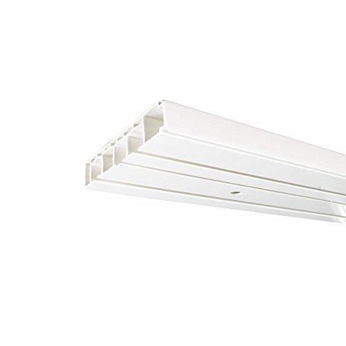 Cg-Sonnenschutz Innenlaufschiene 3-läufig weiß Gardinenschiene, Vorhangschiene (Schiene 450cm ( 3 x 150 & Verbinder))