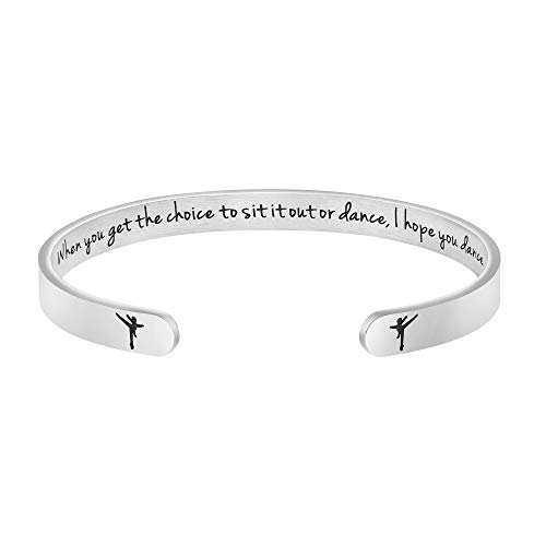 Dance Gifts for Women Dancer Ballerina Christmas Gift for Ballet Mantra Cuff Bangle Granduation Jewelry