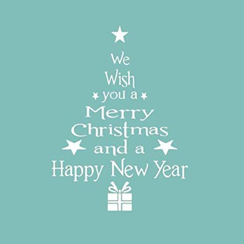 Vrolijk kerstboom Sneeuwman Kerstmis Nieuwjaar Shop Raam Wit Rood Kerstversieringen Sneeuwvlok Party Wit 42X57cm kunst citaat muur sticker, verwijderbare DIY ambachten, PVC vinyl materiaal muursticker, thuis